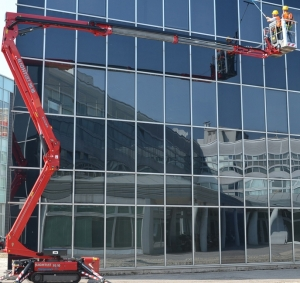 One of our window cleaners using the aerial hydraulic platform